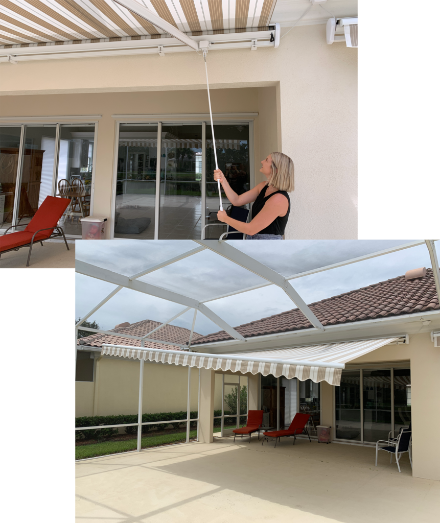 Homeowner using the EZ-Pitch Adjustment feature to lower one corner of the awning